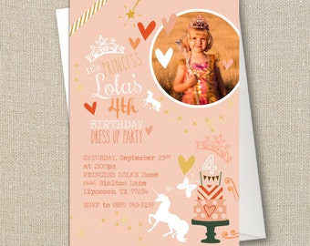 Princess Party Invite  - Unicorn and Glitter - Birthday Party or Baby Girl Shower Printable Invitation