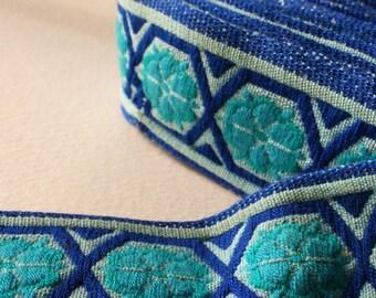 Geometric Vintage Upholstery Trim Blue Turquoise 5 Meters