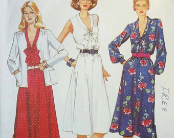Vintage 1980s Tie Collar Dress Pattern Long Sleeves or Sleeveless and Collarless Cardigan Jacket 1980 McCall's 6980 Bust 38