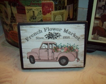 French Flower Market sign block,French Farmhouse,Paris decor,French Rustic,Paris bedroom decor,French decor,French country decor
