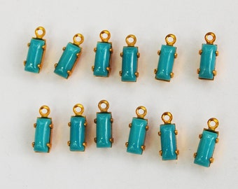 Vintage Small Baguette Pendants 12 Glass Bead 7x3mm Turquoise Blue