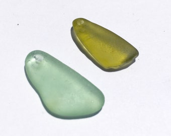 2  Drilled Sea Glass Small Pendants Or Big Charms   (212)