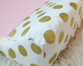 Glitz Gold Dot and Baby Pink Contoured Changing Pad Cover