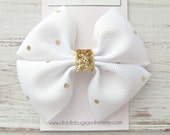 White And Gold Pinwheel Bow, Girl's Gold Hair Bow, Hair Bow For Girls, Gold Polka Dot Hair Bow,  Gold And White Hair Bow, Hair Bow For Girls
