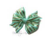 Mint And Gold Stripe Hair Bow, Gold Stripe Bow, Girls Mint Hair Bow, Spring Hair Bow, Gold and Mint Hair Bow, Mint Hair Bows For Girls