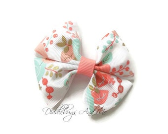 Coral And Mint Pinwheel Bow, Girl's Floral Hair Bow, Hair Bow For Girls,Floral Hair Bows,  Mint And Coral Hair Bow, Hair Bow For Girls