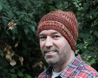 Mens Winter Hat Wool Knit Beanie Mens Beanie Hat Mens Brown Knitted Hat Slouchy Beanie for Man Gift for Him Husband Hubby Boyfriend Gift