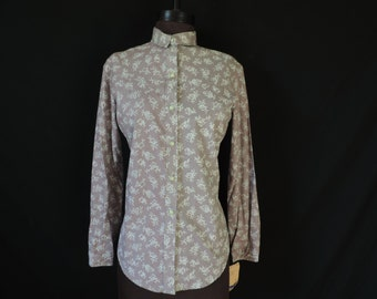 purple rose pearl snap blouse western shirt 70s women's floral top turtle bax medium large new old stock