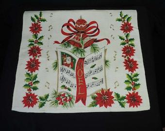 vintage Christmas tea towel Noel sheet music linen poinsettia tea towel