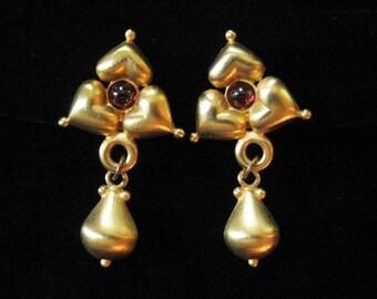 Designer Earrings, 18K Gold Plated with Genuine Garnets, Signed PH