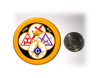 York Rite Refrigerator Magnet 2 1/4 inches in diameter Chapter and Council Refrigerator Magnet Blue Lodge