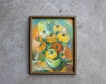 Vintage Original Art Painting Still Life Floral Flowers Zinnias Bouquet Vase  Colors Signed By Artist Home Decor Canvas Earth Tones