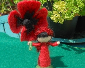 Waldorf Flower Fairy, Poppy Fairy, Play Mat, Play Scape, Hand Felted Fairy, Needle Felted Fairy, Nature Table, Red and Black