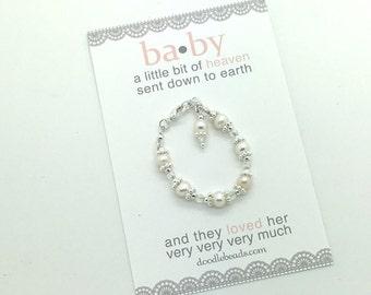 Newborn photo prop, infant bracelet, newborn bracelet, Baby blessing bracelet, pearl and crystal bracelet, baby keepsake, baby jewelry gift