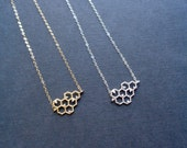 Honeycomb Necklace Silver Or Gold Honey Necklace Honeycomb Pendant Honey Comb Necklace Everyday Jewelry Modern Jewelry Minimalist Necklace