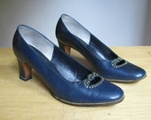 Vintage Murray Bender Navy Blue Studded Pumps