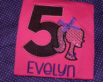 Barbie inspired 5th Birthday Personalized tshirt or ruffle dress- any number