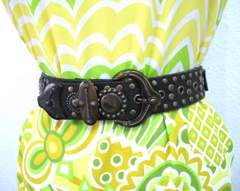 80s Brown Genuine Leather Belt Designer Accents Brass Studded Rivets Original Courtenay