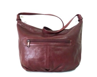 Burgundy Leather Bag Slouchy Shoulder Hobo Vintage Shoulder Handbag