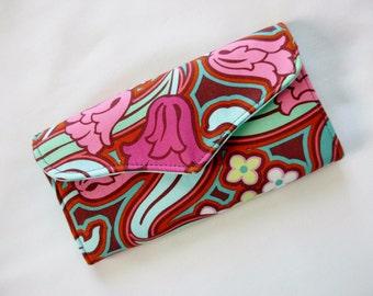 Wallet Tri Fold Clutch Checkbook Zipper Pocket Amy Butler Disco Flower