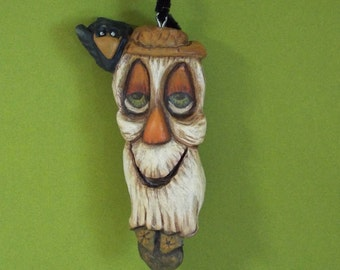 Halloween Scarecrow and Crow Ornament Wood Carving  Folk Art OOAK