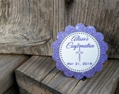 BAPTISM tags-  Lavender glitter - Rounded cross - RESERVED
