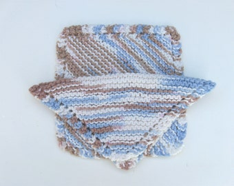 Set of Two (2) Knitted Cotton Dishcloths - Tan/Blue/White