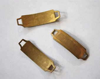 10 Small Vintage Antiqued Brass ID Bars // NOS Jewelry Supply