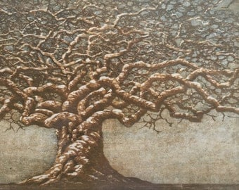 Packaged Print Studio Sale - Award Winning Tree No. 21 OOAK hand-pulled woodblock reduction moku haga fine art print