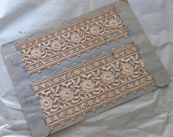 Very old AUTHENTIC swiss st gall lace - antique lace embroidery personalise vintage sewing supply