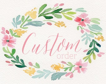 Custom DIGITAL Watercolor Wreath Bassinet Name Card