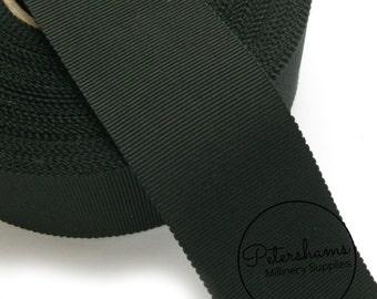 38mm No.9 Millinery Petersham Hat Ribbon (1 yard) - Black