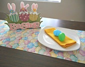 Easter Table Runner Eggs Pink Yellow Lilac Blue Green Pastel Polka Dots Flowers Reversible