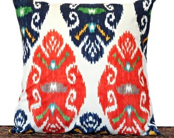 Ikat Pillow Cover Cushion Beige Navy Blue Orange Mustard Teal Green Gray Repurposed Decorative 18x18