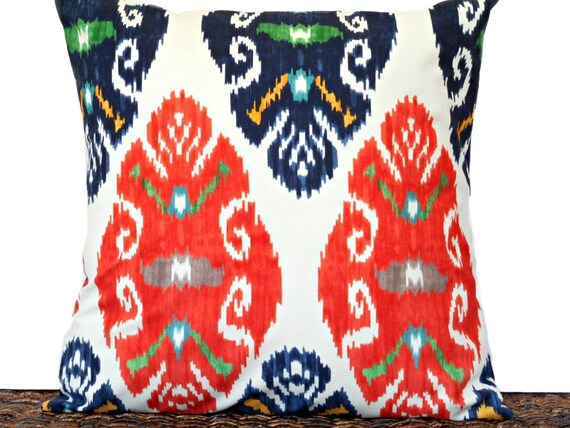 Navy And Teal Throw Pillows: Ikat Pillow Cover Cushion Beige Navy Blue Orange Mustard Teal