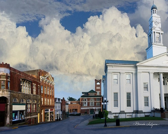 Kentucky, Court Street Winchester, Fine Art Print on Paper or Canvas