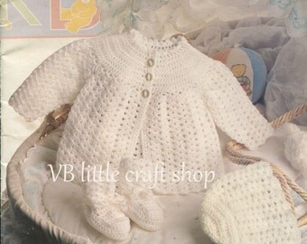 Matinee coat, bonnet and bootees crochet pattern. Instant PDF download!