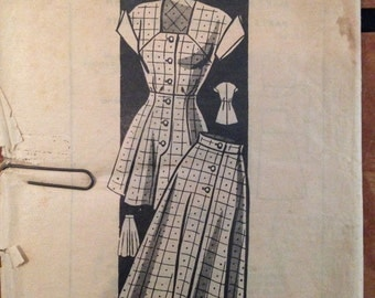 Vintage 40s 50s Playsuit Play Suit & Skirt Pattern 36 bust mail order Anne Adams 4893