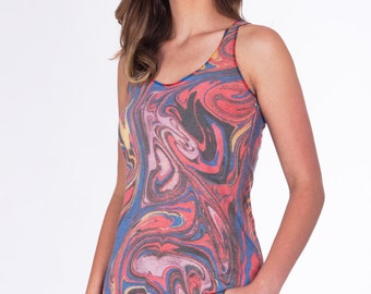 Womens MARBLED Swirls Tank Top --- Yoga workout Tri-Blend Racerback Sm Med Lg Xl XXl