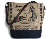 MTO. Hula Girl Bucket Hobo Handbag. Repurposed Green World Farms Coffee Bag and Shoulder Bag. Handmade in Hawaii.