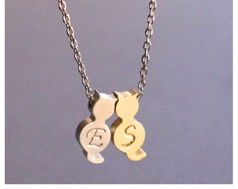 Initial Cat Necklace/Personalized 2 Cat Necklace/Pet Jewelry/Cat Jewelry/Personalized Pet Memorial Necklace/Initial Necklace Pets/Pet Lovers