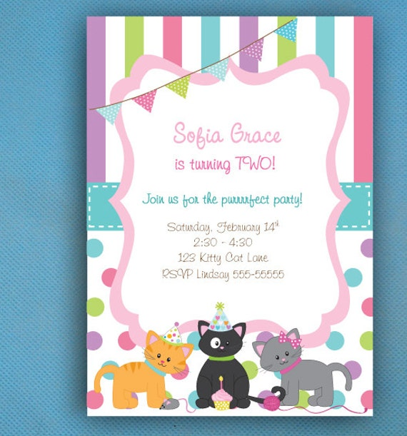 Cat Party Invitations Kitty Birthday Cat Birthday Kitten Party – Cat Party Invitations