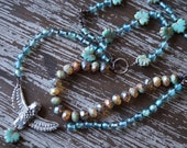 Unlisted - Bird Necklace - Multi Strand Necklace - Aqua and Beige - Boho Knotted Necklace - Earthy Woodland Necklace - Bead Soup Jewelry
