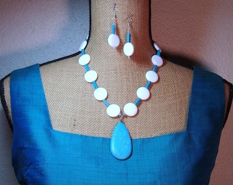 Natural White Jasper and Blue Turquoise Gemstones 925 Silver Necklace and Earrings