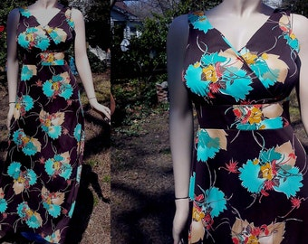 70s Prom Dress and Vintage Jacket Set, 70s Maxi Dress, 70s Costume, 70s Jacket, 70s Dress, Floral Dress by C.M. Courtney Size 10