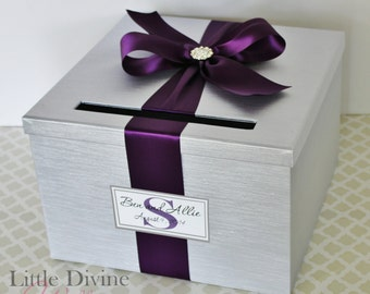 Wedding Card Box Silver Plum Purple Custom Made in your Color Card Holder
