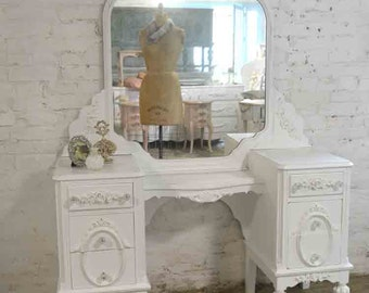 Painted Cottage Chic Shabby Romantic Vanity VAN733