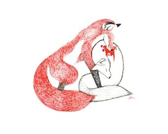 minimalist ink print: Arctic Fox vs Red Fox