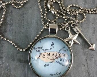 Map Pendant Necklace Cape Cod Jamaica