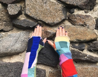 100 percent cashmere fingerless gloves - Crazy quilt- colorful patchwork armwarmers - cashmere gloves - rainbow